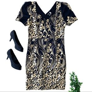 Nikibiki • Black and Gold Embroidered Sequin Dress